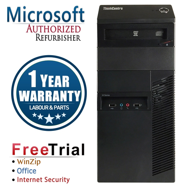 Refurbished Lenovo ThinkCentre M92P Tower Intel Core I5 3470 3.4G 8G DDR3 320G DVD Win 7 Pro 1 Year Warranty - Black