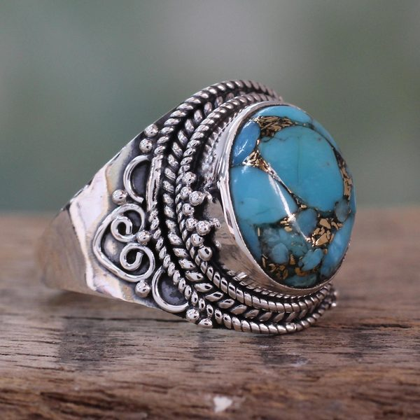 Handcrafted Sterling Silver 'Golden Greeting' Turquoise Ring (India)